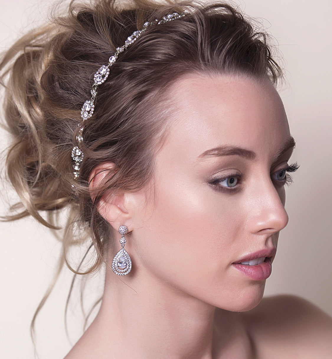 Jules Swarovski Headband with Ribbon Tie - Amy O. Bridal