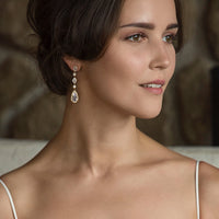 Daisy Long Drop Earrings - Amy O. Bridal