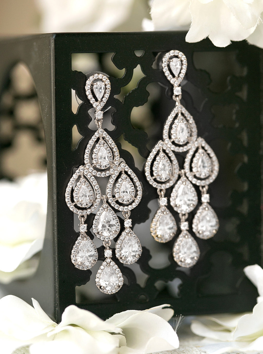 margaux white gold tear drop chandelier earrings - Amy O. Bridal