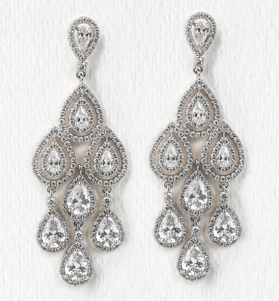 Margaux Silver Tear Drop Chandelier Earrings