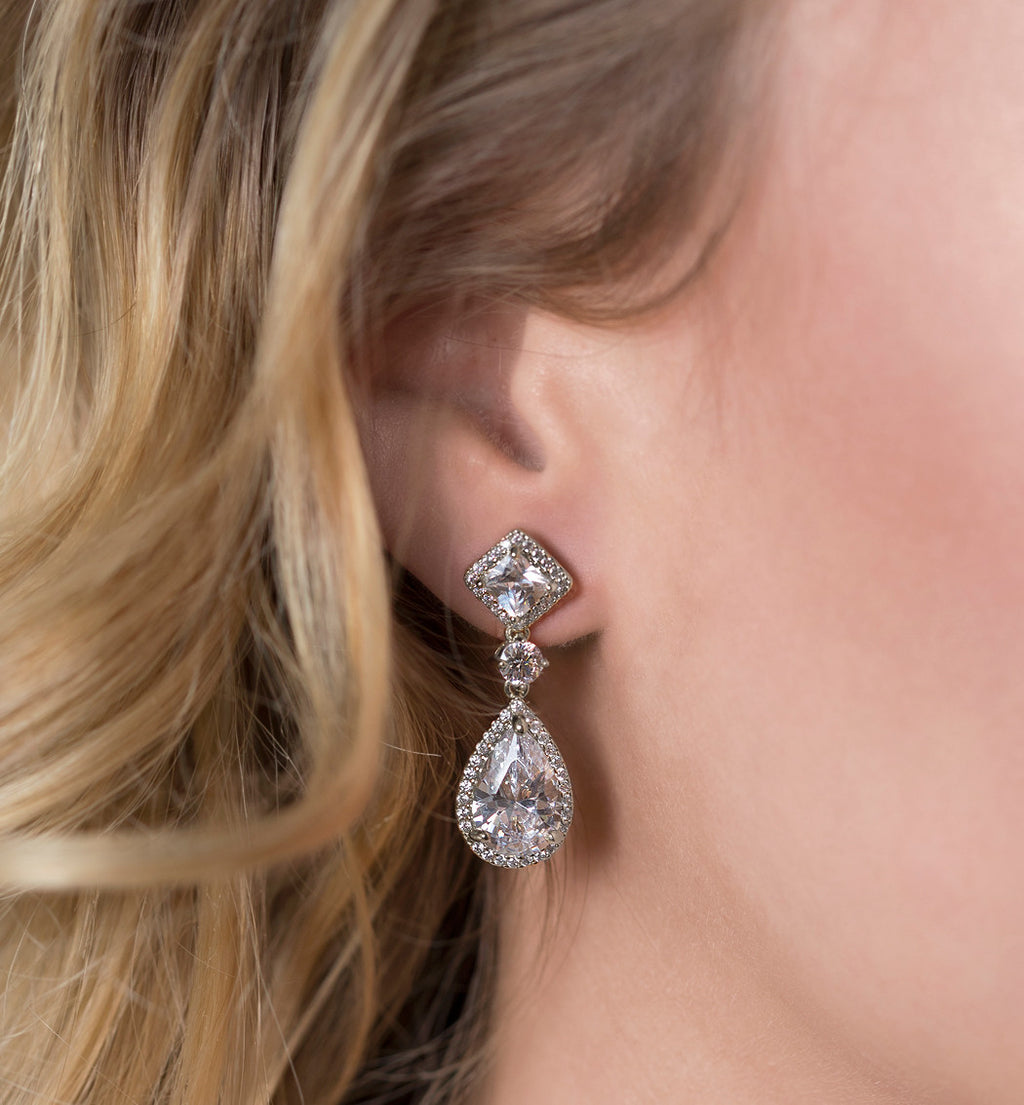 Princess Cut Tear Drop Earrings in Silver