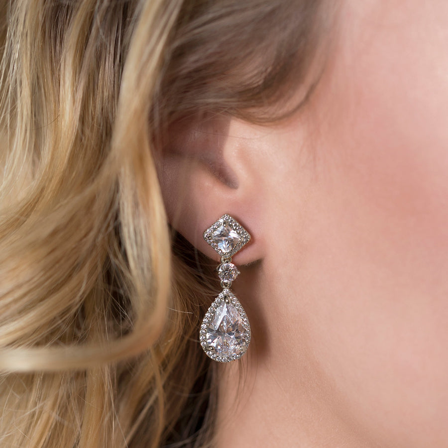 Regal Princess Cut Earrings - Amy O. Bridal