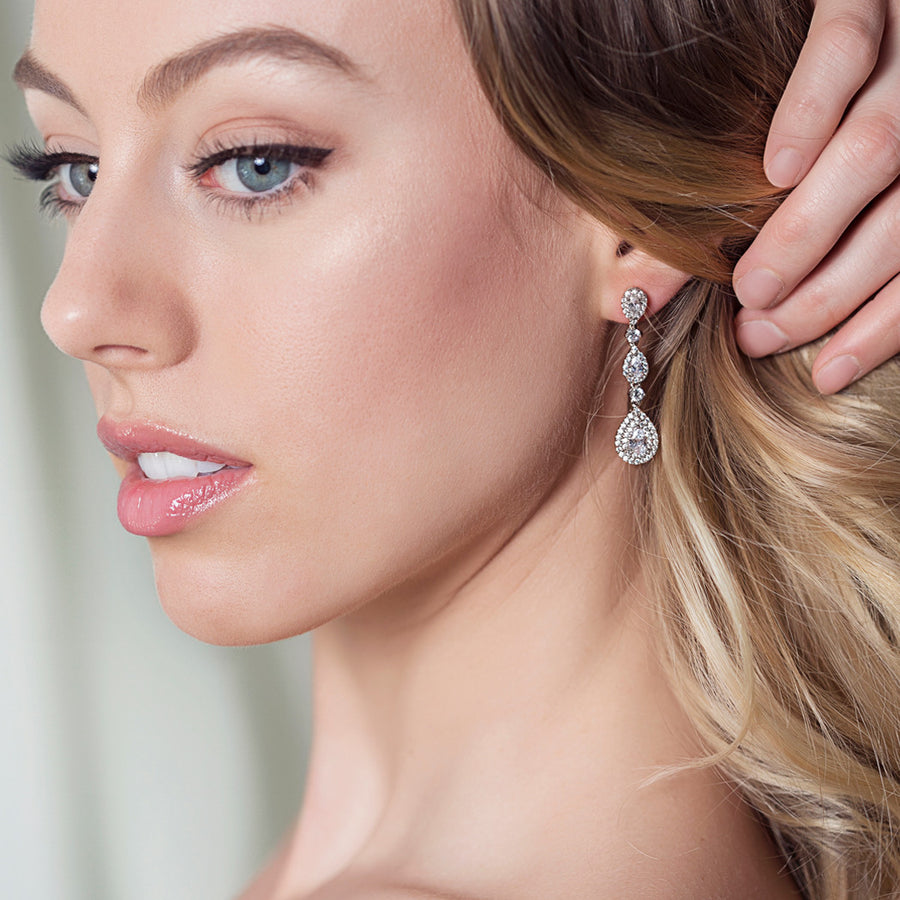 Margaux Linear Teardrop Earrings - Amy O. Bridal