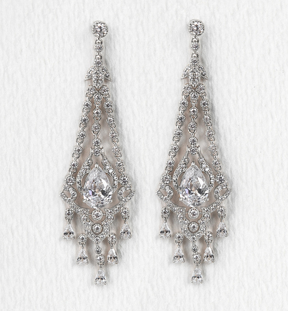 Deco Silver Chandelier Earrings