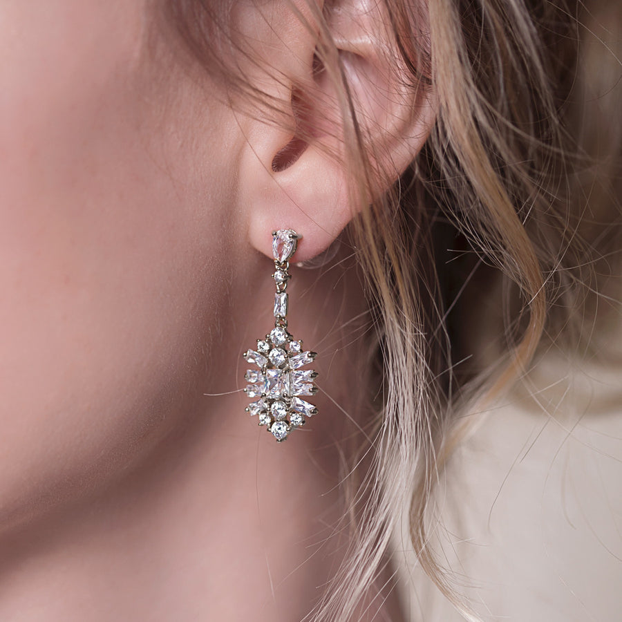 Deco Motif Drop Earrings - Amy O. Bridal