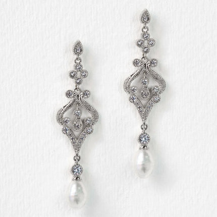 Jolie Vintage Pearl Long Drop Earrings