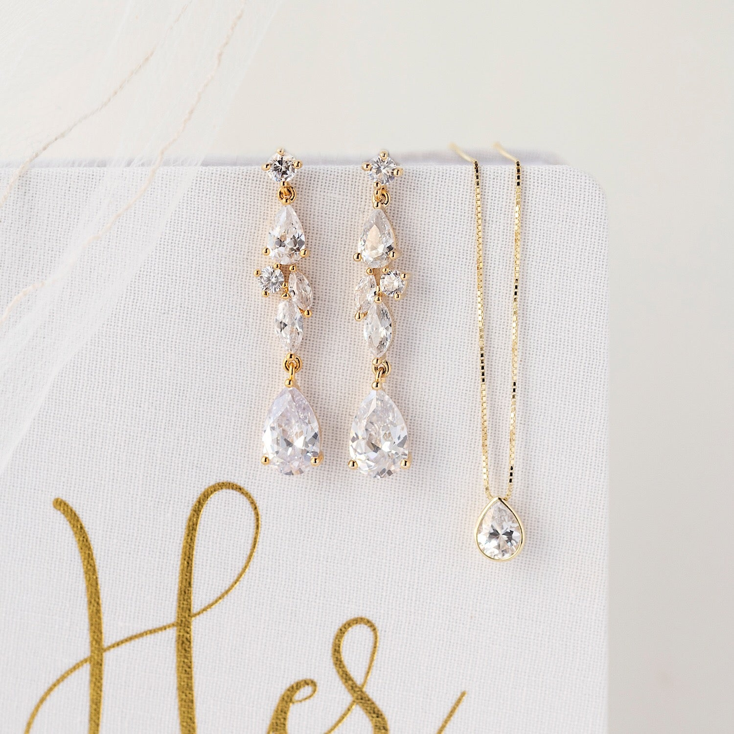 Mosaic Crystal Drop Earrings - Amy O. Bridal