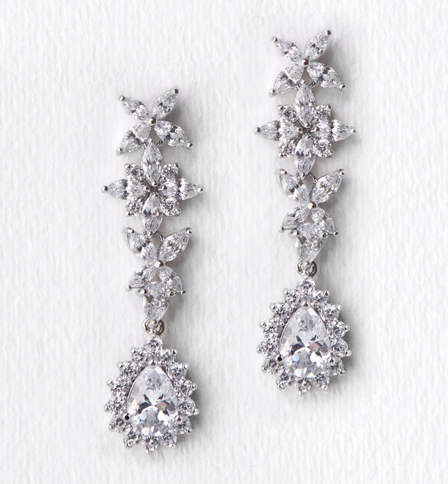 Fleur Teardrop Earrings - Amy O. Bridal