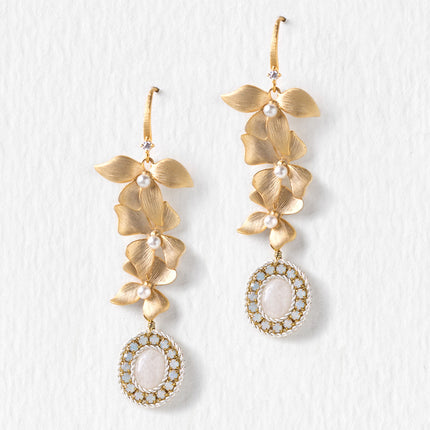 Jardin Floral Moonstone Long Drop Earrings