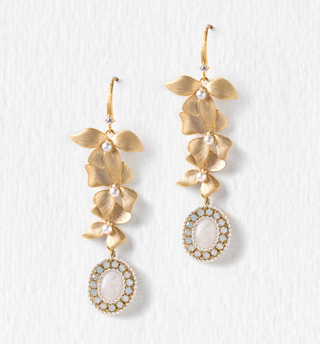 Floral Gold Moonstone Earrings