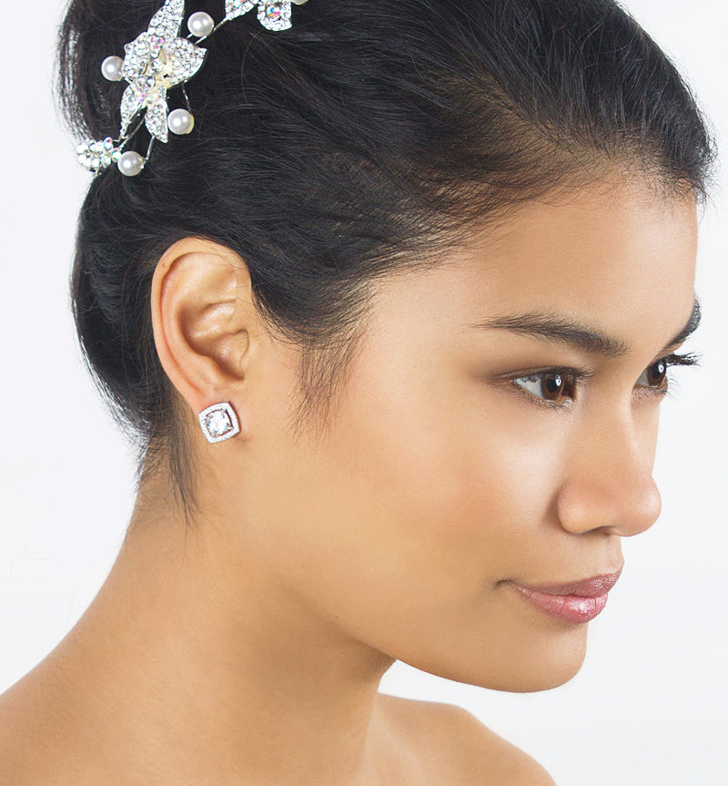 Sabrina Crystal Earrings - Amy O. Bridal