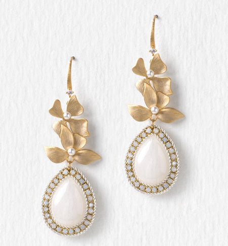 Floral Gold Pear Moonstone Earrings