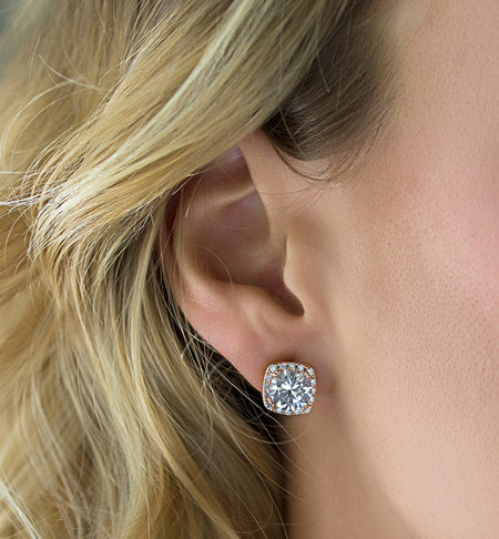 Cushion Round Crystal Stud Earrings - Rose Gold