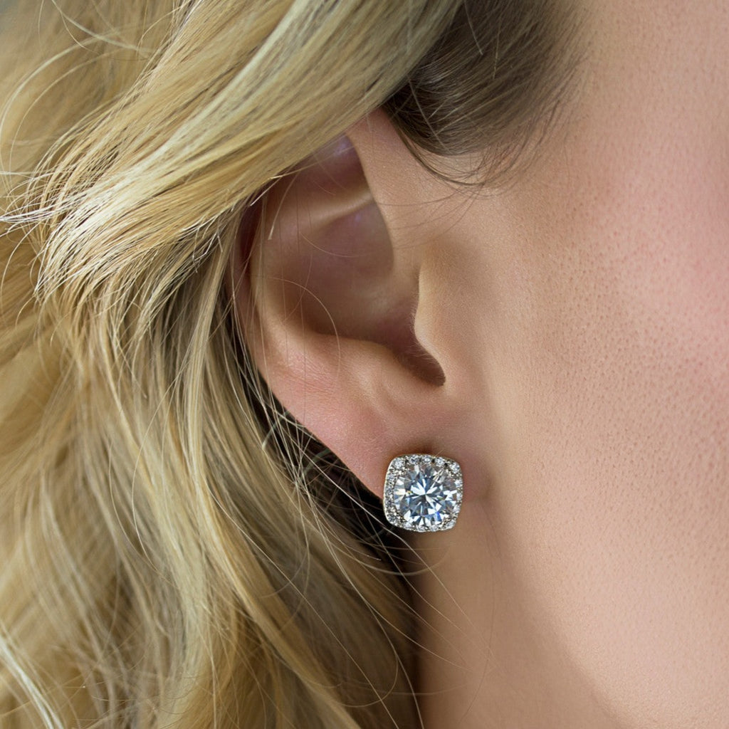 Cushion Round Crystal Stud Earrings - Silver