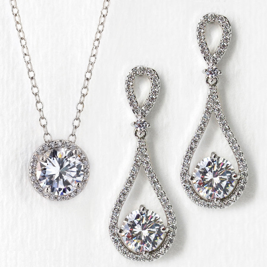 277873741 Bridal Earrings and Bridal Necklace | Wedding Jewelry Set – AMY O Bridal