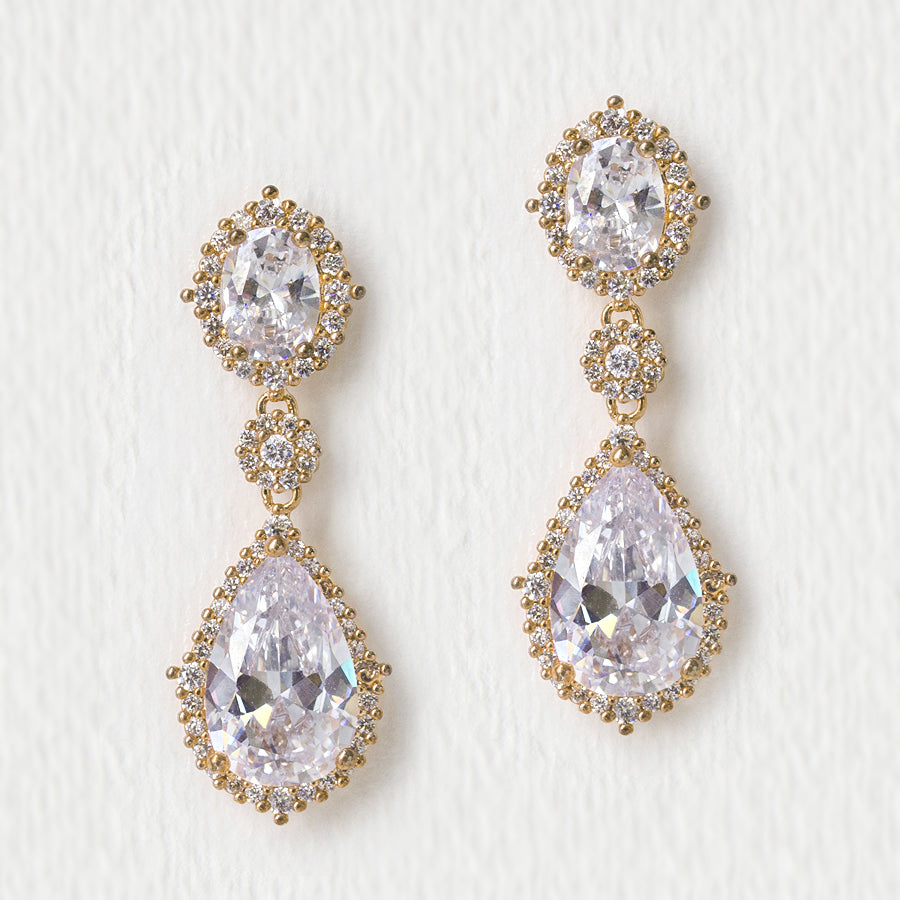 Cleo Pear Drop Earrings - Amy O. Bridal