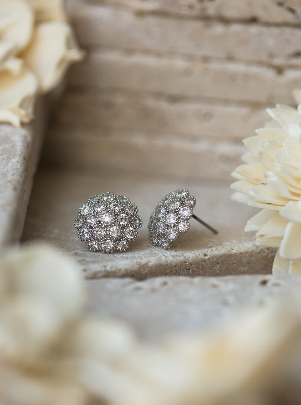 Cubic Zirconia dome stud earrings - Amy O. Bridal