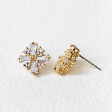Deco CZ Stud Earrings
