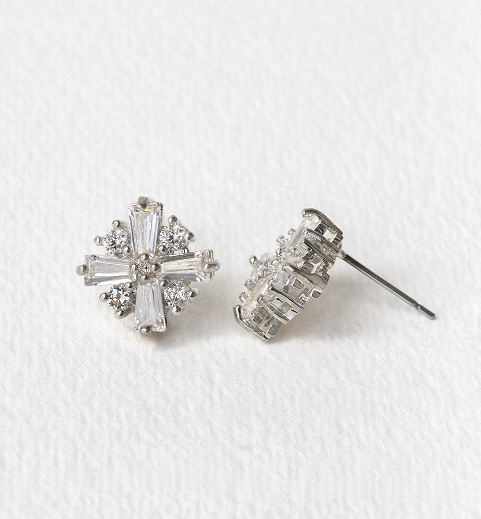Deco CZ Stud Earrings - Amy O. Bridal