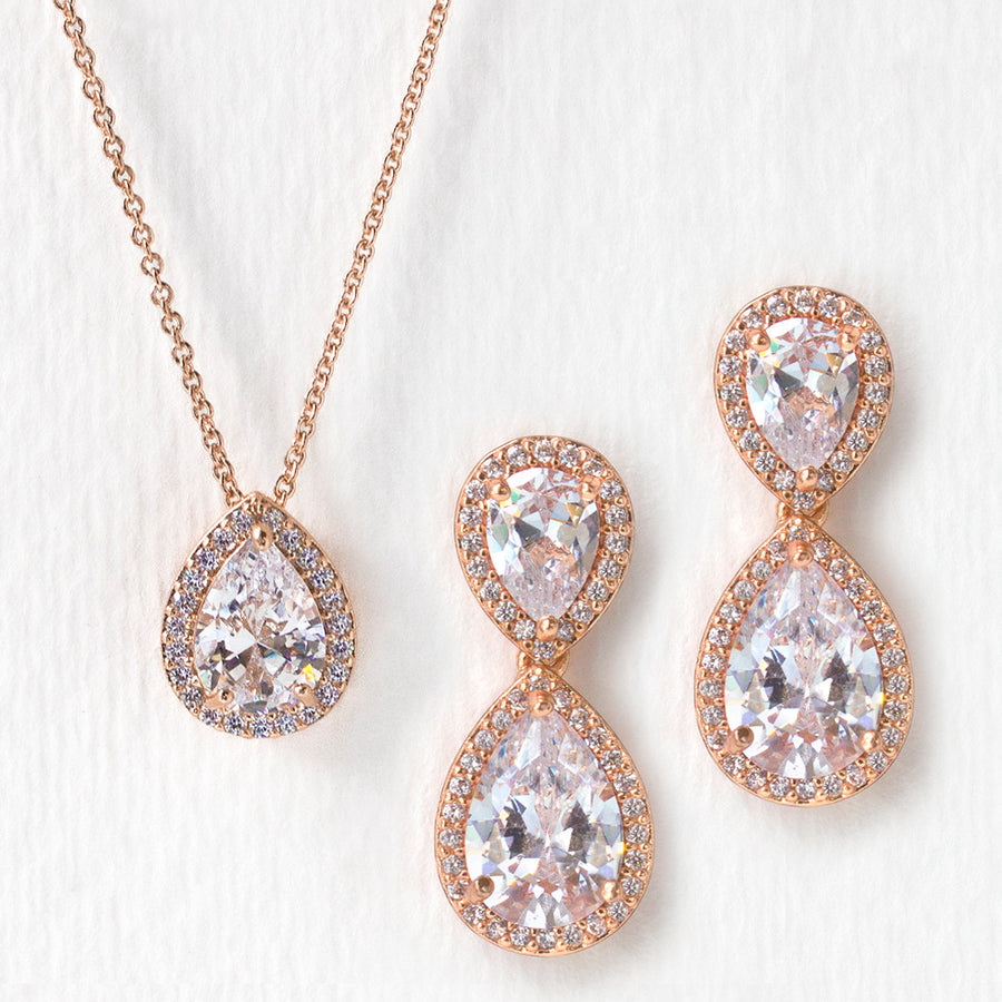 d1a7cf6ee Pendant Necklace and Crystal Earrings | Wedding Jewelry Set – AMY O ...