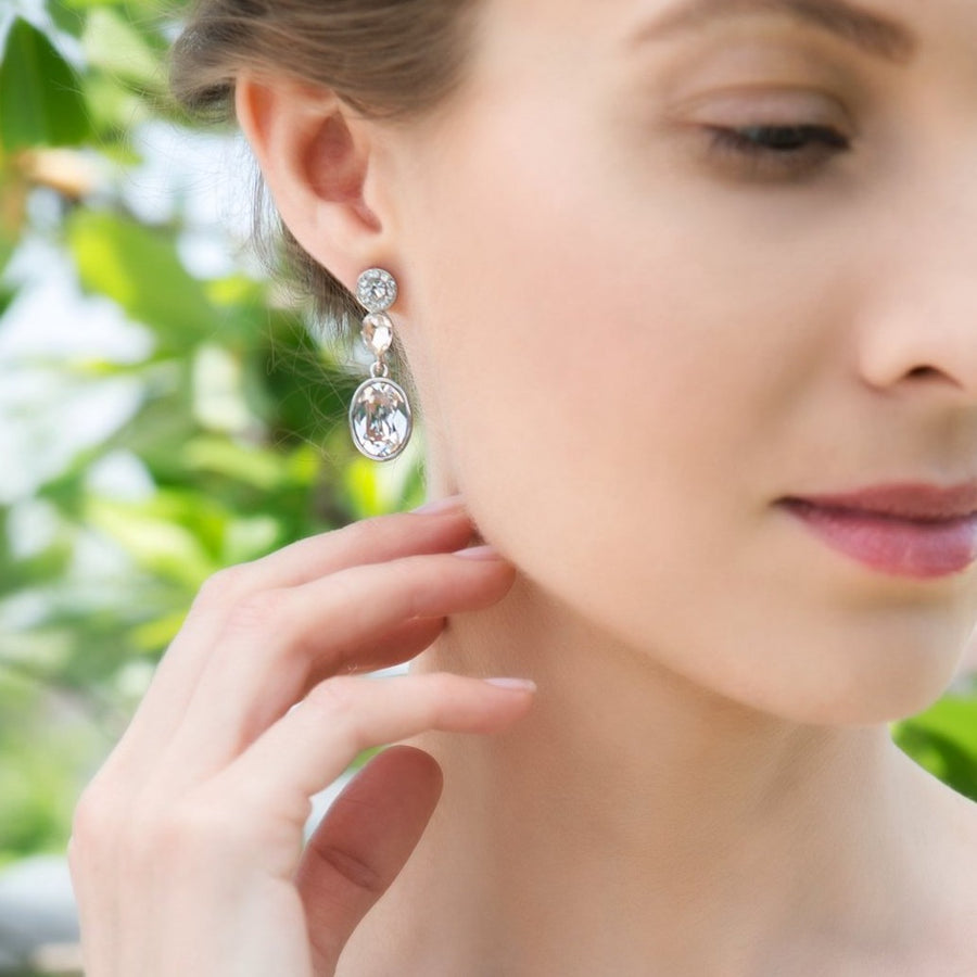 Astrid Swarovski Drop Earrings - Amy O. Bridal