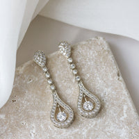 Bella Long Drop Earrings - Amy O. Bridal