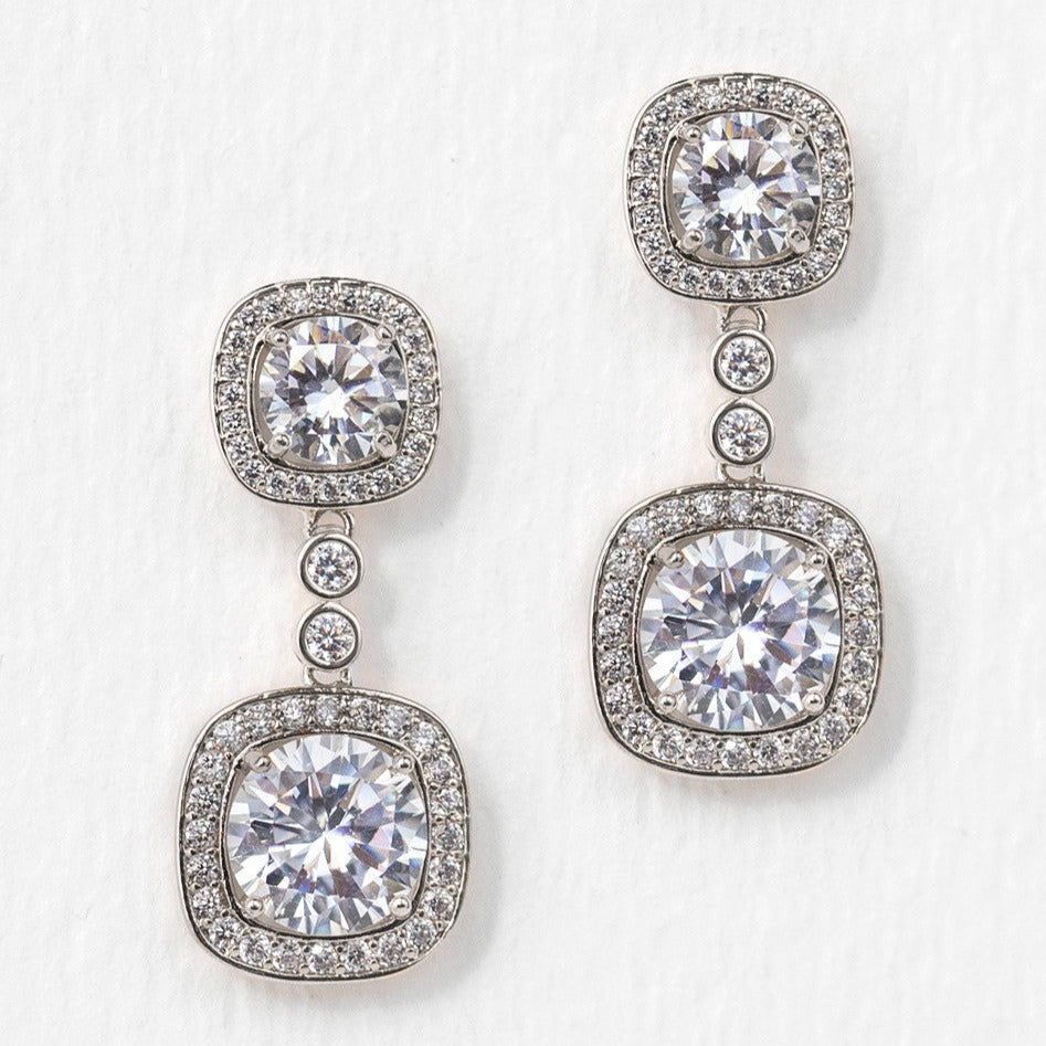 Cushion Crystal Drop Silver Earrings