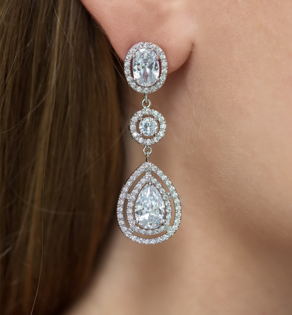 Margaux White Gold Classic Drop Earrings - Amy O. Bridal