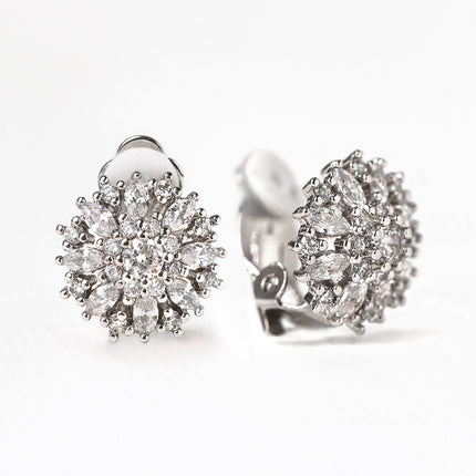 Ray Crystal Clip On Stud Earrings