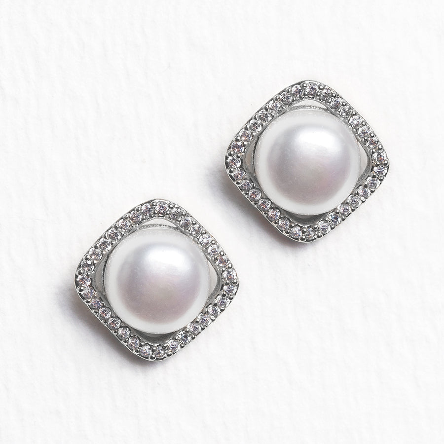 Perla Cushion Halo Stud Earrings - Amy O. Bridal