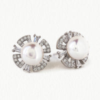 Deco Pearl Stud Earrings - Amy O. Bridal