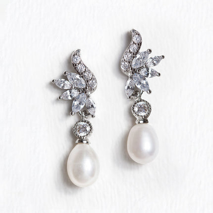Vintage Marquise Pearl Drop Earrings