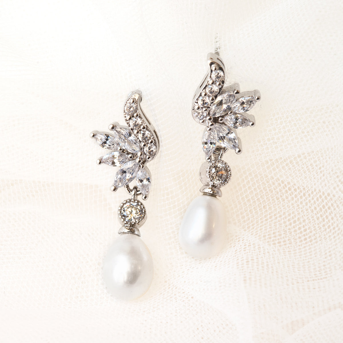 Marquise Vintage Pearl Drop Earrings - Amy O. Bridal