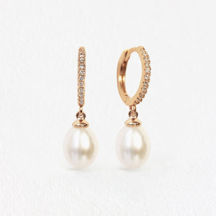 Freshwater Pearl Pave Hoops