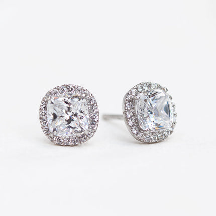 Cushion Halo Stud Earrings