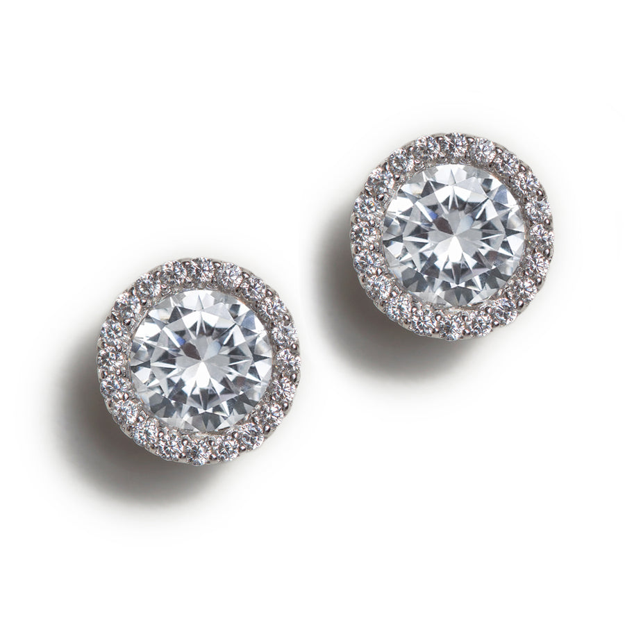 Sophia Petite Round Halo Stud Earrings