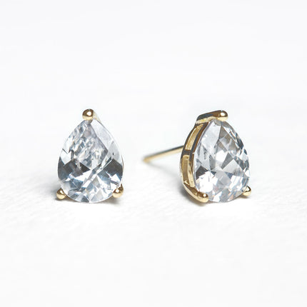 Solitaire Pear Stud Earrings