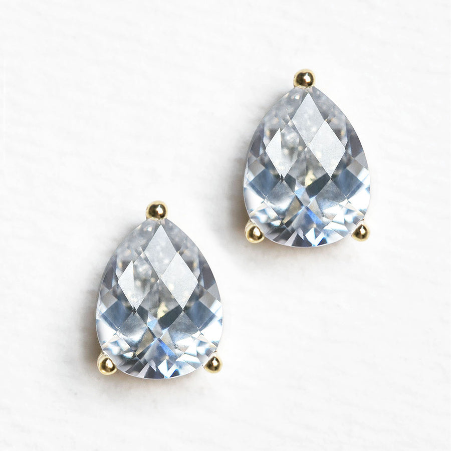 Willow Solitaire Teardrop Stud Earrings - Amy O. Bridal
