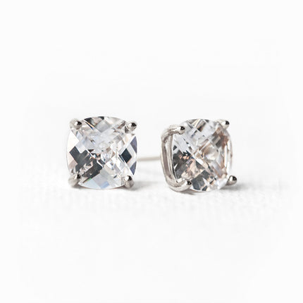 Solitaire Cushion Stud Earrings