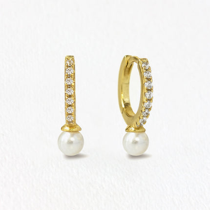 Tiny Pearl Huggie Earrings