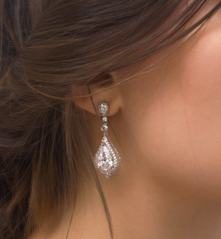 CZ Silver Drop Earrings