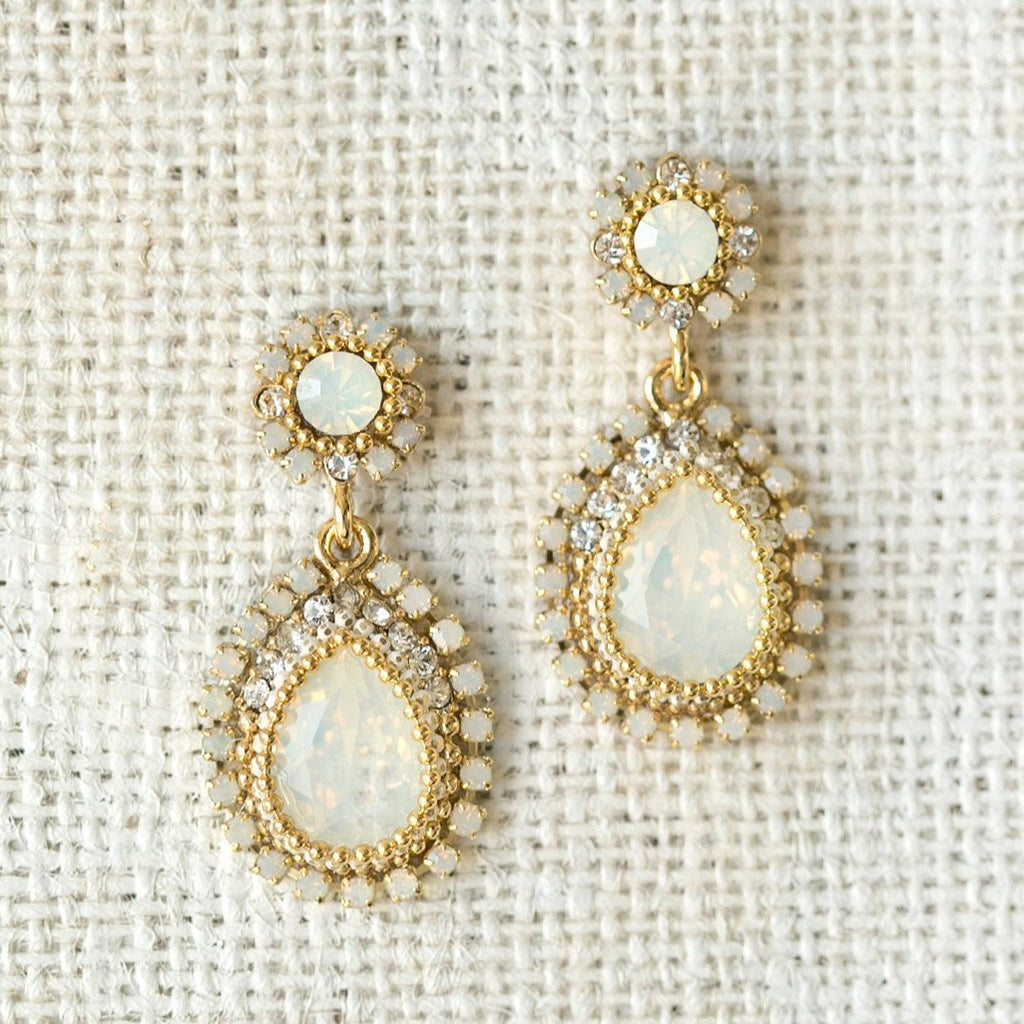 Opal Swarovski Crystal Drop Earrings - Amy O. Bridal