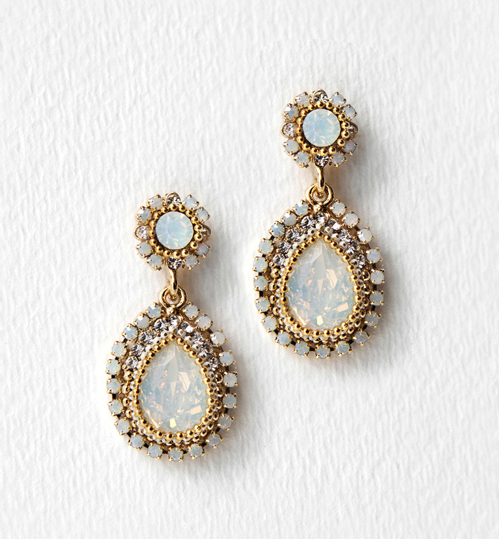 Opal Swarovski Crystal Drop Earrings