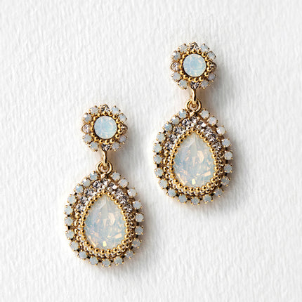 Opal Swarovski Crystal Gold Drop Earrings