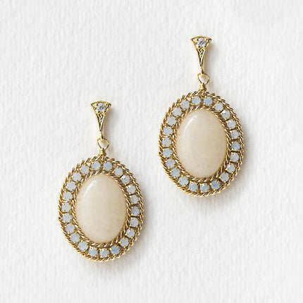 Jardin Moonstone Oval Drop Earrings