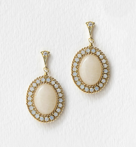 White Moonstone Opal Drop Earrings