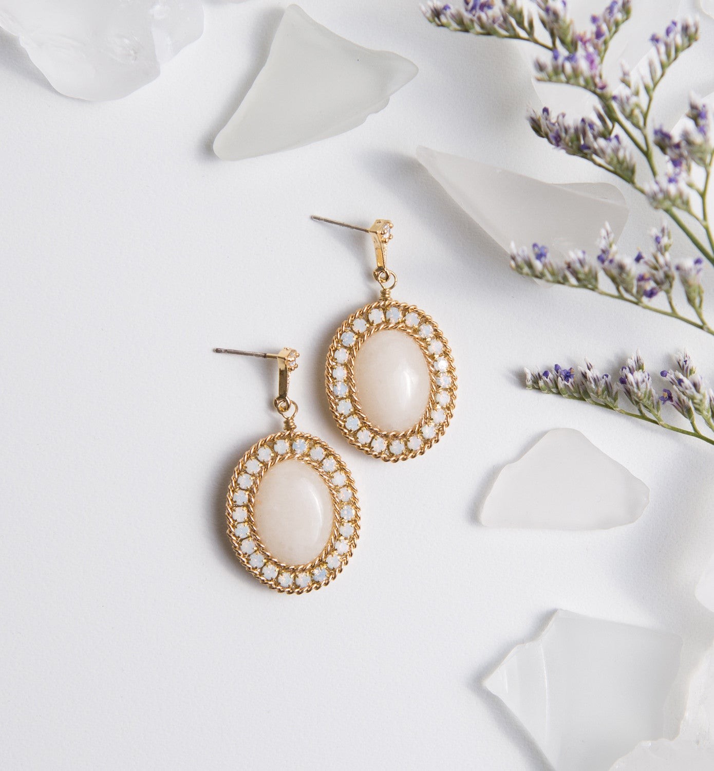 Jardin Moonstone Oval Drop Earrings - Amy O. Bridal
