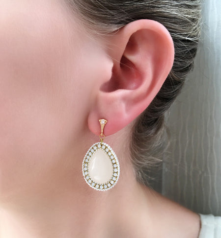White Moonstone Tear Drop Earrings