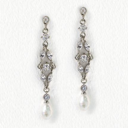 Marquise Dainty Pearl Drop Earrings
