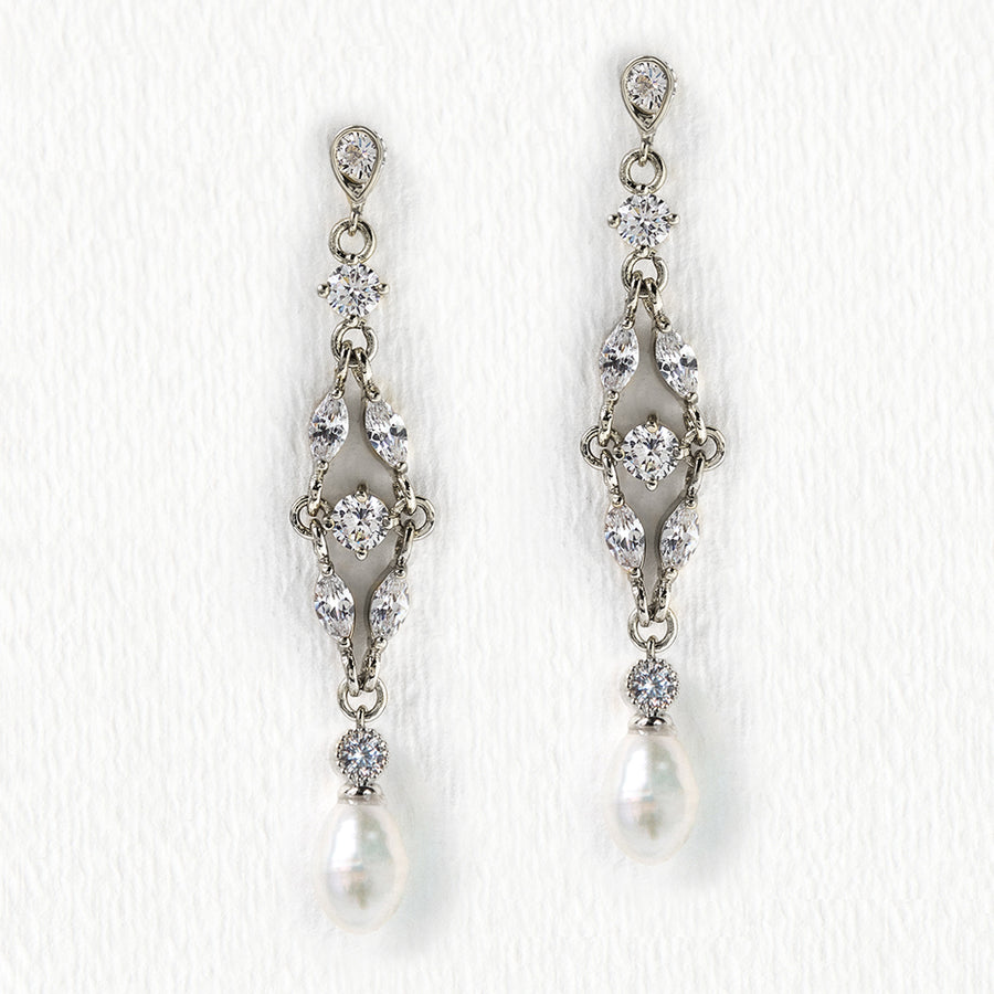 Marquise Dainty Pearl Drop Earrings - Amy O. Bridal